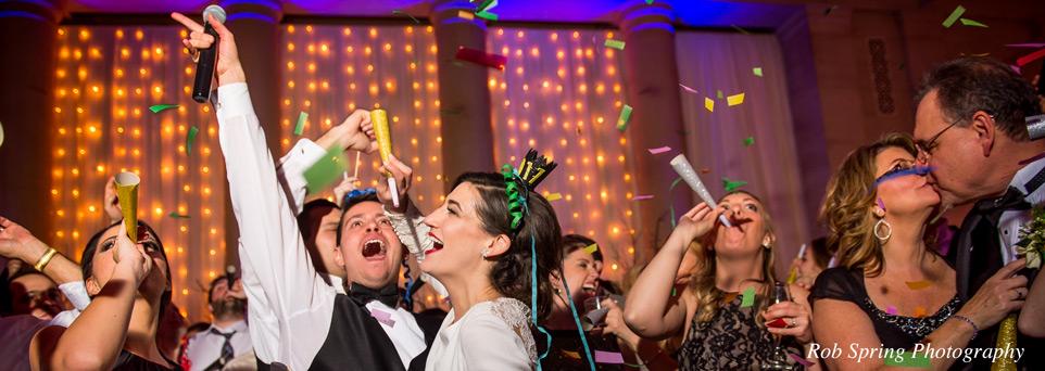 wedding party celebrating