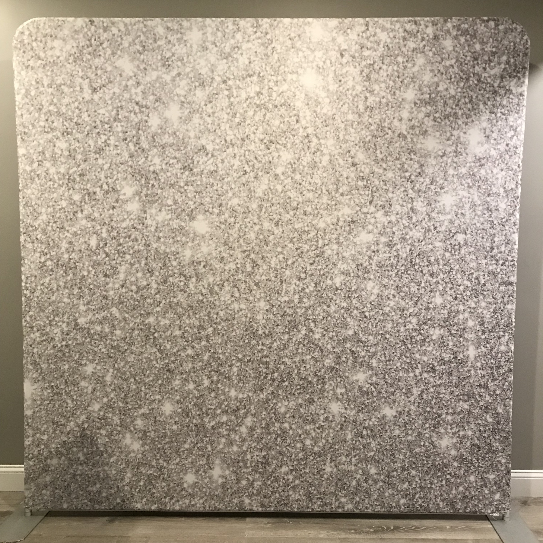 silver sparkle backdrop